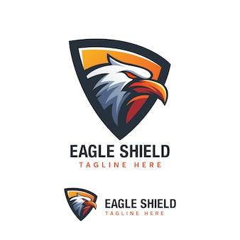 Abstrack eagle shield logo design templat ilustration