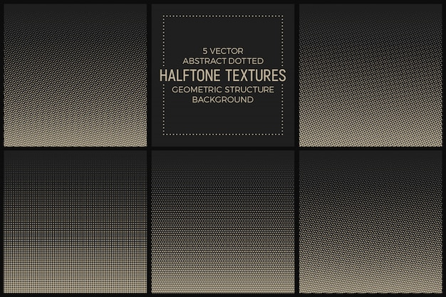 Abstract dotted halftone textures vector set