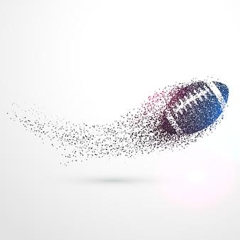 Abstracta bola de rugby que vuela con partículas