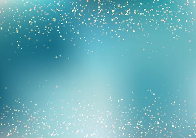 Abstracta fondo azul turquesa de brillo dorado que cae