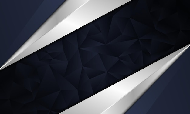 Abstracto azul marino oscuro y blanco metálico con fondo poligonal. ilustración vectorial.