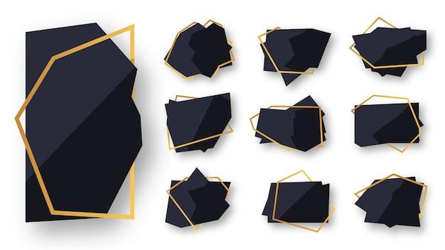 Abstracto geométrico poligonal negro con conjunto de marco de línea de oro. plantilla vacía para texto. marco de poliedro moderno decorativo de lujo aislado en blanco