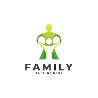 Abstracto humano gente padre hijo familia logo