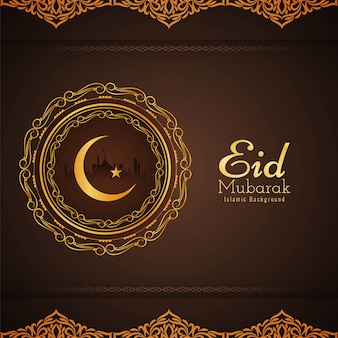 Abstracto saludo religioso de eid mubarak.