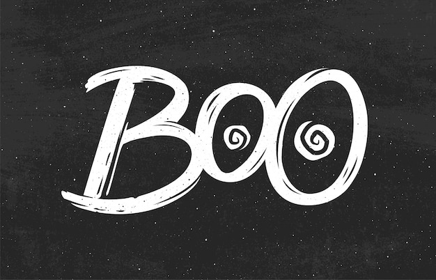 Abucheo. letras dibujadas a mano para halloween.