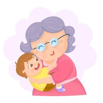 La abuela abraza a su nieto