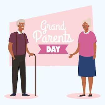 Abuela y abuelo en el diseño del vector del día de los abuelos