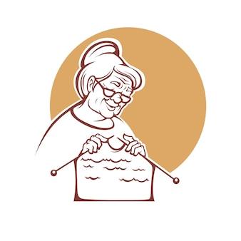 Abuela adorable, anciana tejiendo un suéter, logotipo, etiqueta o emblema hecho a mano para su tienda de lanas