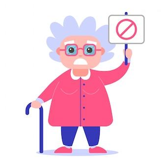 Abuela con un cartel en contra. de mal humor. personaje de mujer