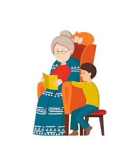 Abuela de dibujos animados leyendo el libro de cuento de hadas para niño chico.