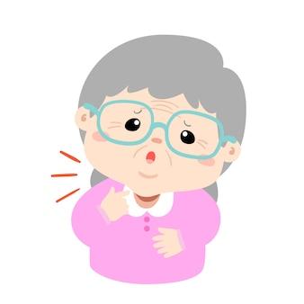 Abuela dolor de garganta debido a la gripe vector de la enfermedad.