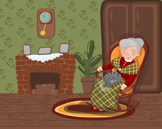 Abuela durmiendo en una silla acogedora con gato de rodillas, mujer senior en la ilustración de la sala