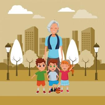 Abuela familiar con nietos de dibujos animados.