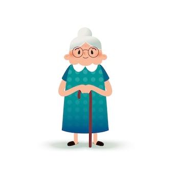 Abuela feliz de dibujos animados con un bastón