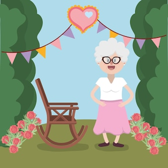Abuela en la fiesta de jardin