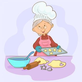 La abuela está horneando galletas caseras.