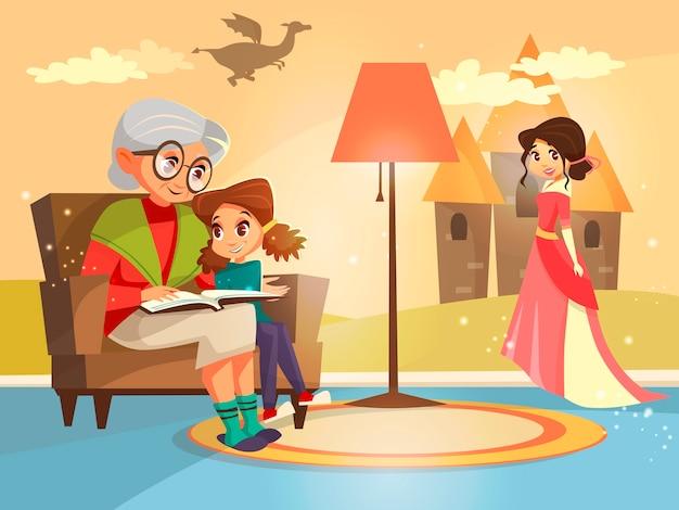 Abuela leyendo el libro de cuento de hadas para niña niño sentado en el sillón.