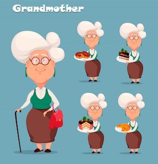 Abuela de pelo plateado, conjunto de cinco poses.