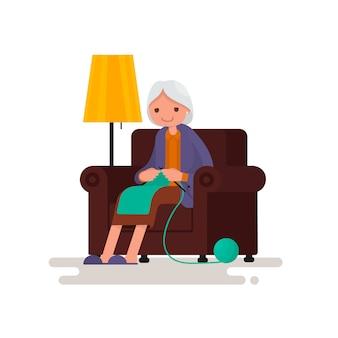 Abuela teje sentado en una silla ilustración