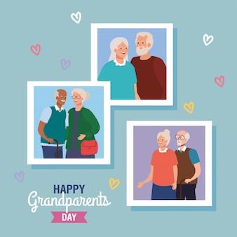 Abuelas y abuelos en feliz día de los abuelos diseño vectorial
