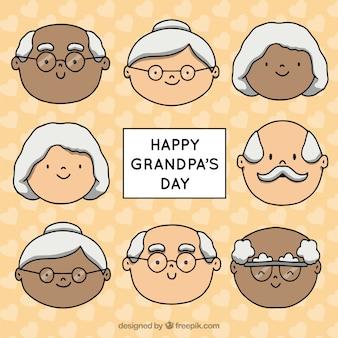 Abuelitos dibujados a mano celebrando el día de los abuelos