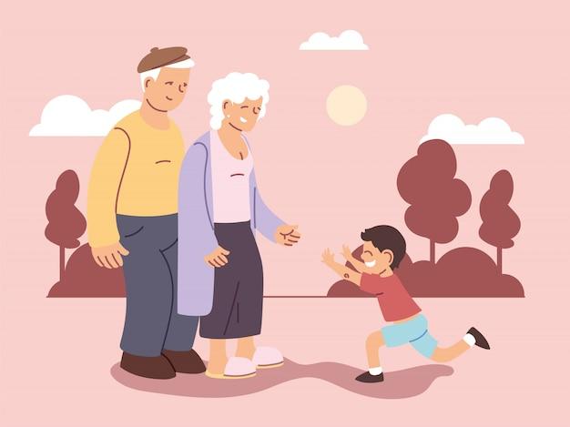 Abuelo y abuela con nieto, feliz día de los abuelos