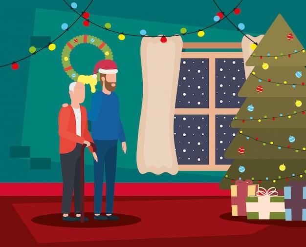 Abuelo e hijo en la sala de estar con decoración navideña