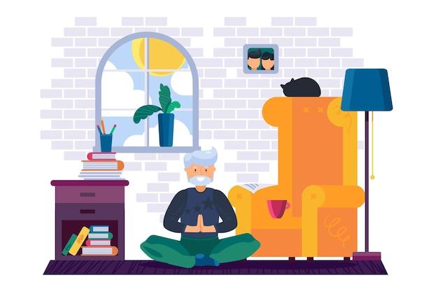 Abuelo entrenamiento ejercicio de yoga en casa
