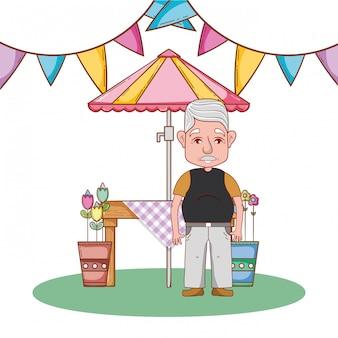 Abuelo lindo de dibujos animados