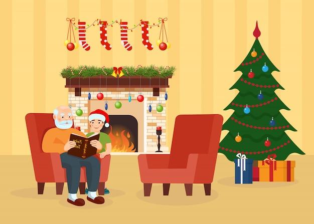 Abuelo, nieto en la habitación decorada para navidad