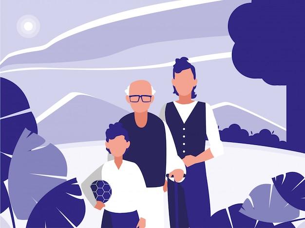 Abuelo padre e hijo delante del paisaje