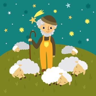 Abuelo pastor en un prado y ovejas dormidas. cielo estrellado