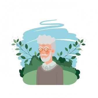 Abuelo con personaje de avatar de paisaje