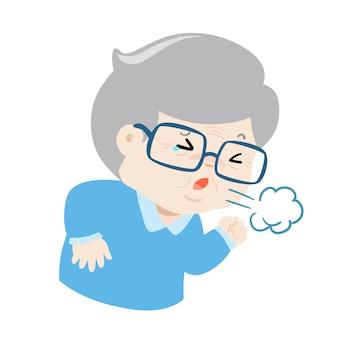 El abuelo que tose con fuerza causa el vector de la enfermedad de la gripe.