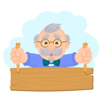 Abuelo con una tabla en la mano