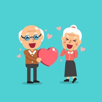 Abuelos felices con gran corazon