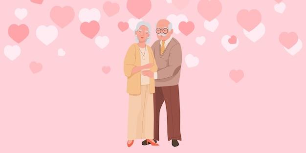 Abuelos felices se paran y se abrazan vector
