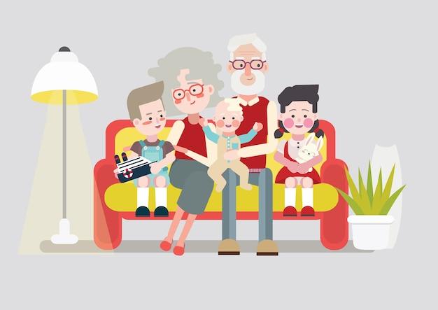 Abuelos felices con sus nietos