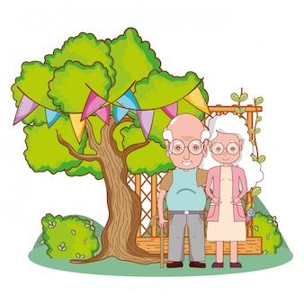 Abuelos lindos pareja de dibujos animados