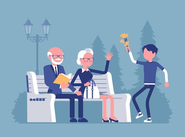 Abuelos y nieto en la ilustración del parque