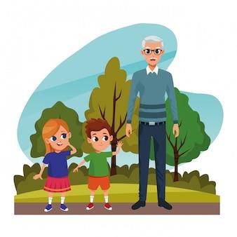 Abuelos con nietos en el parque
