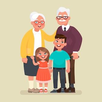 Abuelos con nietos.