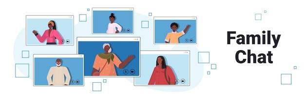 Abuelos, padres e hijos, teniendo reunión virtual durante la videollamada, chat familiar, concepto de comunicación, gente africana, amerifcan, charlar, en, navegador web, windows, vector, ilustración