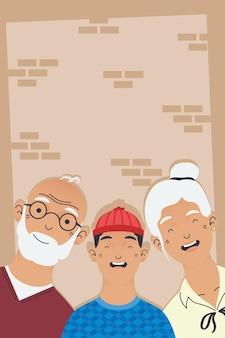 Abuelos y personajes de avatares de niño.