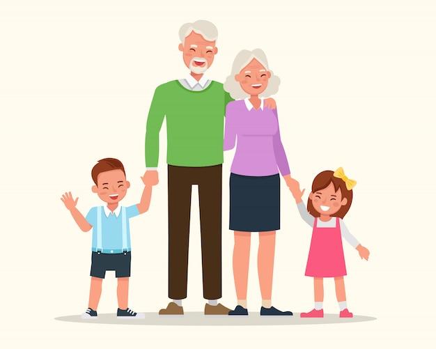 Abuelos con sus nietos de diseño vectorial de caracteres.