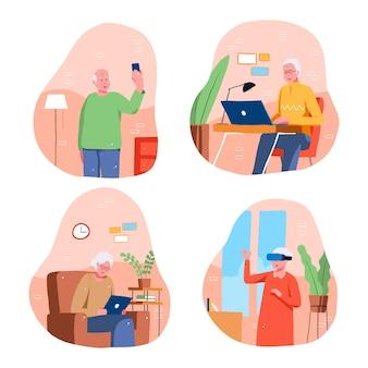 Abuelos usando varios dispositivos digitales.