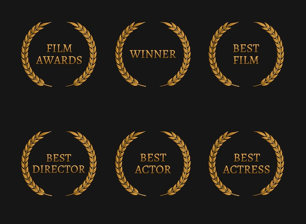 La academia de cine premia a los ganadores y las mejores coronas de oro nominadas sobre fondo negro.