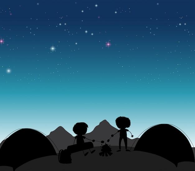Acampando en la noche