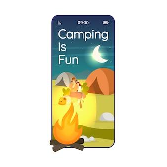 Acampar es una divertida pantalla de la aplicación para teléfonos inteligentes de dibujos animados noche en el desierto. pantallas de teléfonos móviles con diseño de caracteres planos. expedición sitio aplicación teléfono linda interfaz