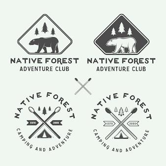 Acampar logotipos al aire libre